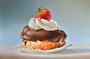 Pastry-with-Strawberry2012-Delicious Paintings Tjalf Sparnaay